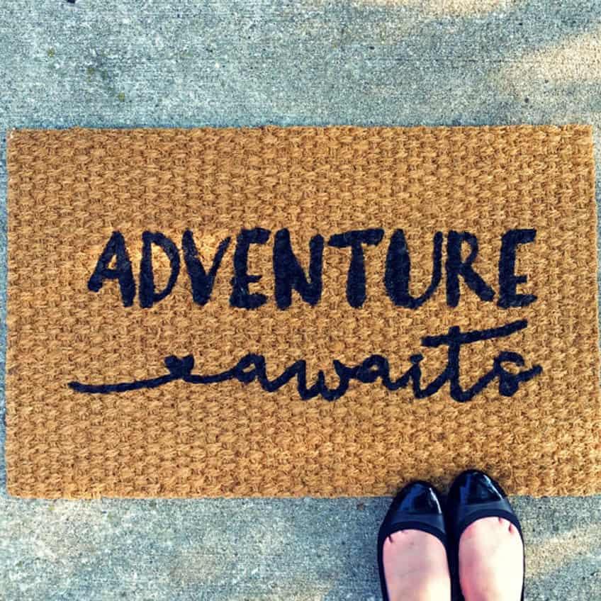 Adventure Awaits Doormat – Welcome Mat - Home Decor - Inspirational Decor - Adventure Decor - Housewarming Gift - Wanderlust