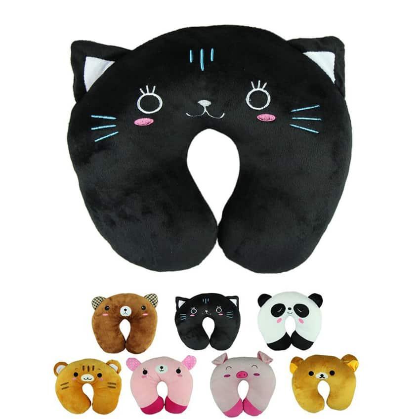 Voberry® Cute Cartoon Panda Cats Bear Pig Pattern Design Travel Car Home Pillow, U Shape Neck Pillow Rest pillow Protect Neck Cervical Spine (BlackCat)