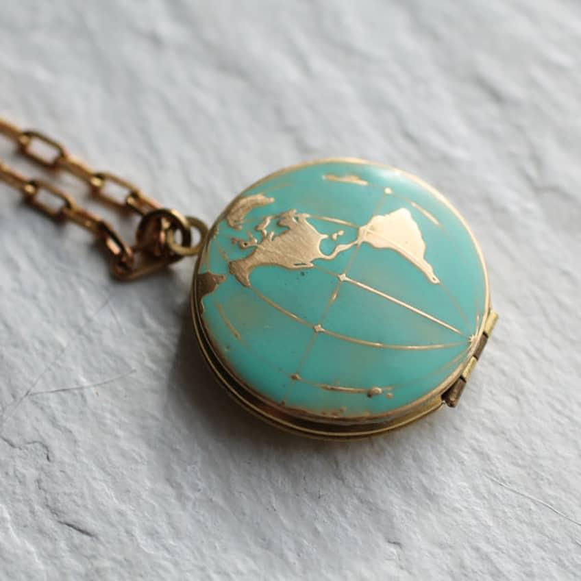 World Map Locket... Vintage Brass Globe Traveller