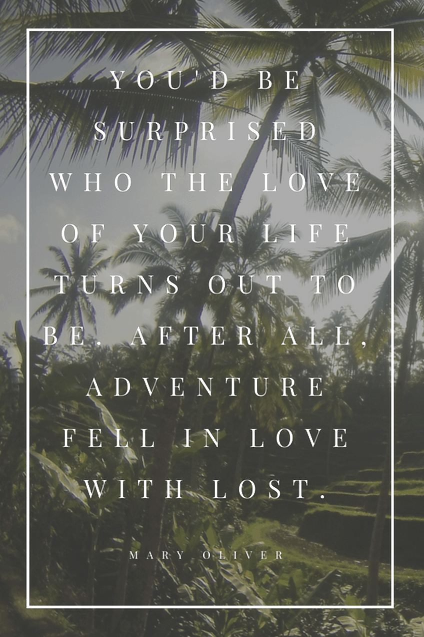 """You'd be surprised who the love of your life turns out to be. After all, adventure fell in love with lost"" - Mary Oliver"