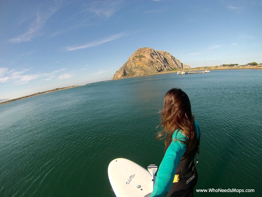 paddle board lesson morro bay rock