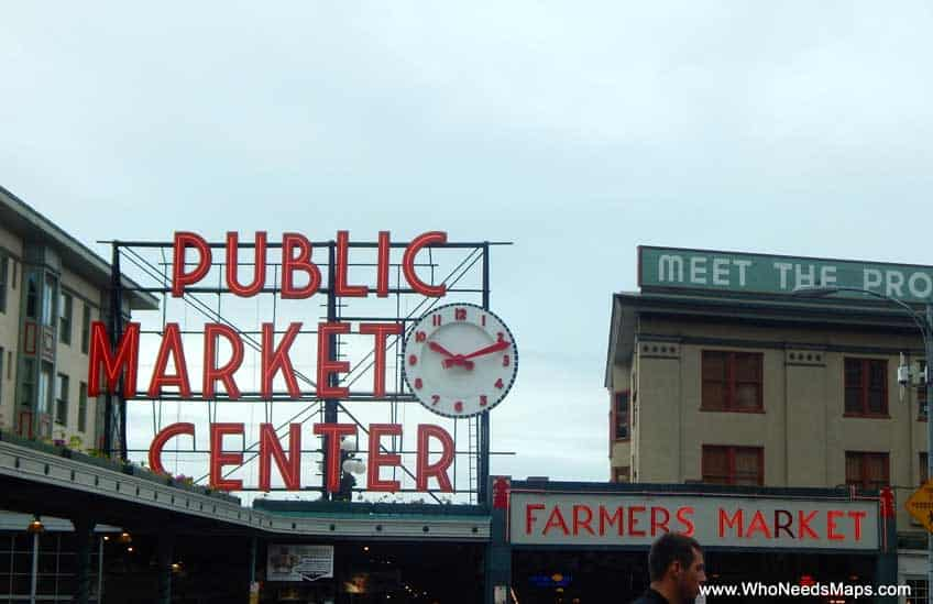 pike place market food tour market sign