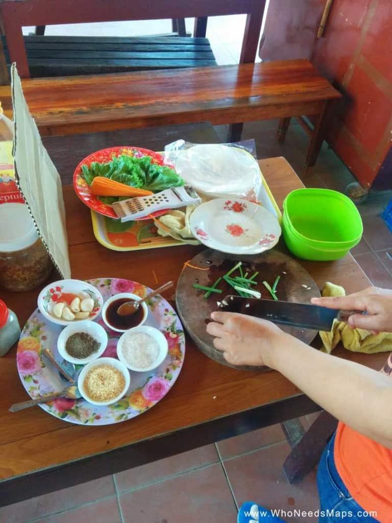 vietnamese cooking class prep